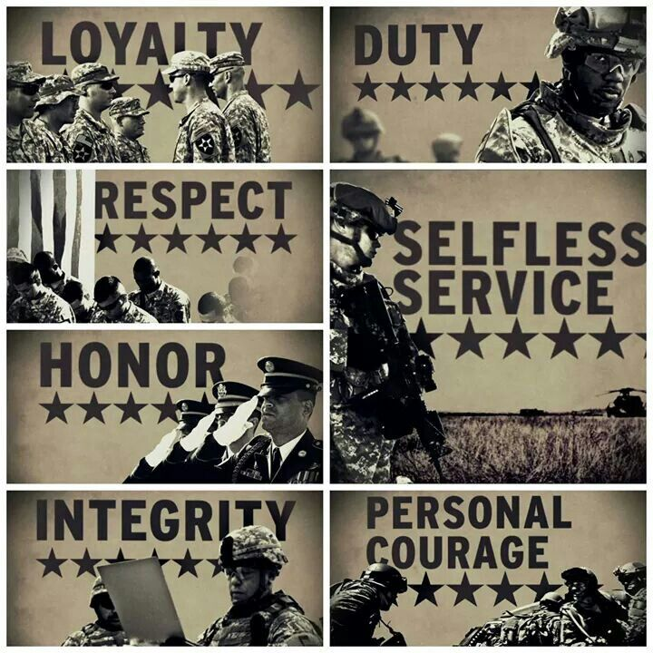 army values In the united states army we are taught to live by the seven army values they are broken down to us in the acronym 'ldrship' which is short for loyalty, duty, respect, selfless service, honor, integrity and personal courage.