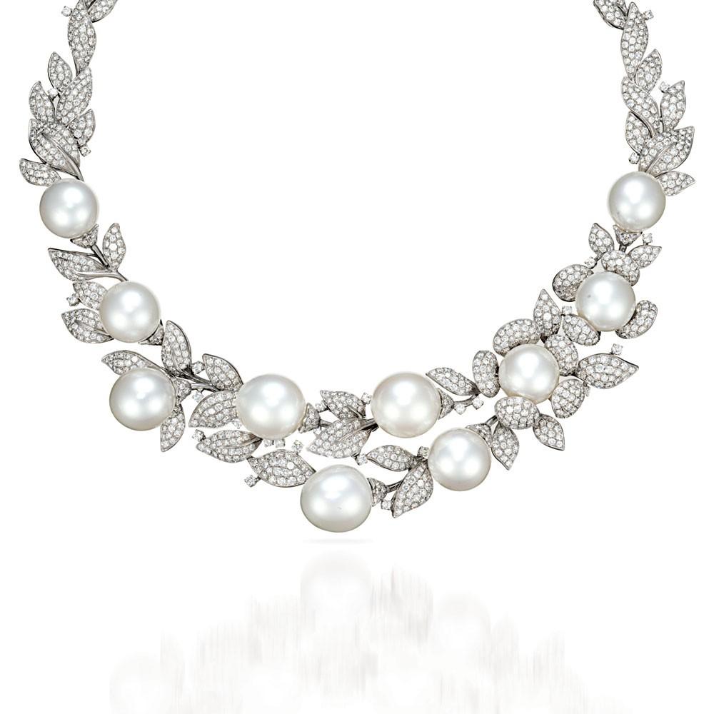 Pearl diamond necklace wedding