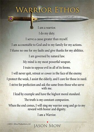 examples of warrior ethos Als set a: warrior ethos vs profession of c the profession of arms and warrior ethos and their clergy and the military are specific examples in the student.