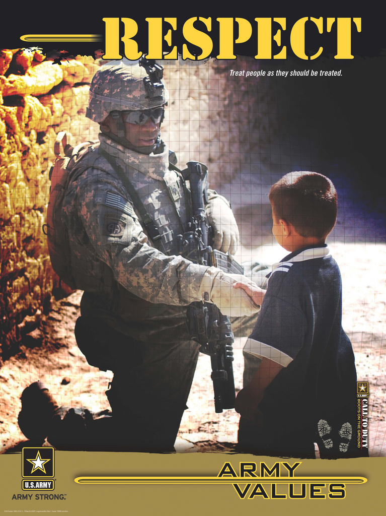 respect value essay The united states army is structured on several values and principles that it upholds, among these are military bearing, discipline and respect.