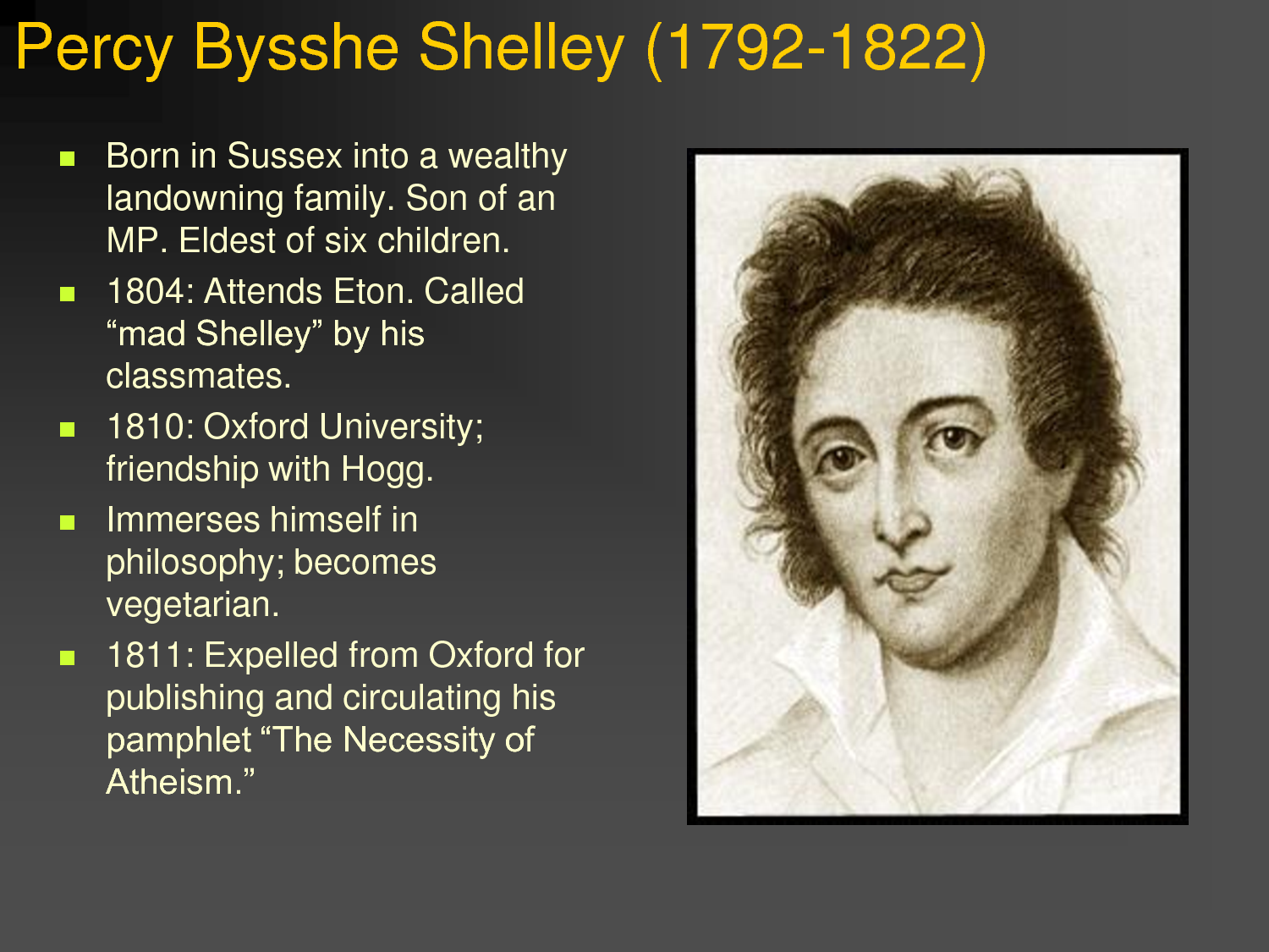 """percy bysshe shelley on life essay In the poem """"mutability"""", percy shelley presents a theme of that we encounter throughout life shelley of this essay and no longer wish to have the."""
