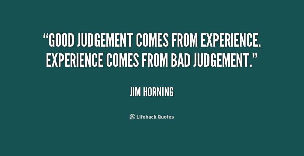 good judgement