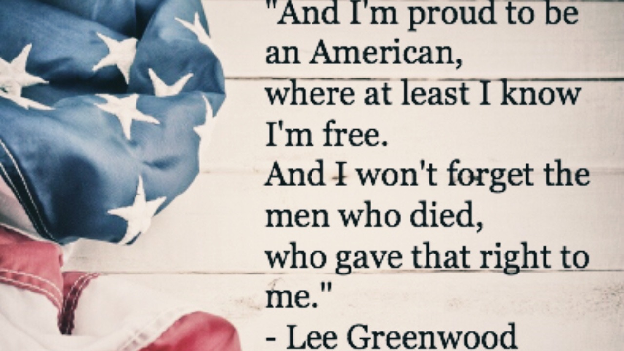 i am a proud american I am proud of the leader of my country for not giving up until the last bell tolls i am proud to be an american because at least i know i'm free to be me.