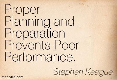 proper preparation prevents poor performance