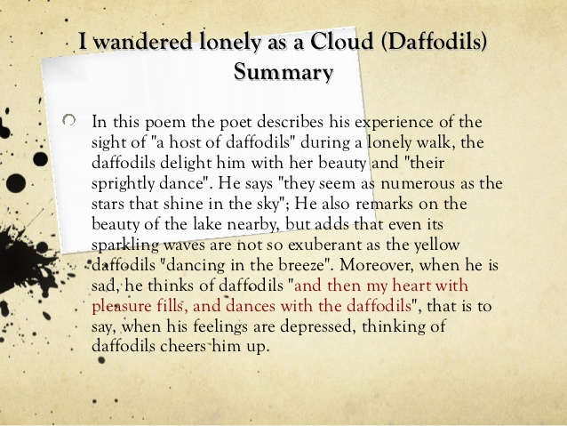 an analysis of i wandered lonely as a cloud Nature is often a focal point for many author's works, whether it is expressed through lyrics, short stories, or poetry authors are given a cornucopia of pictures and descriptions of nature's splendor that they can reproduce through words it is because of this that more often than not a reader.