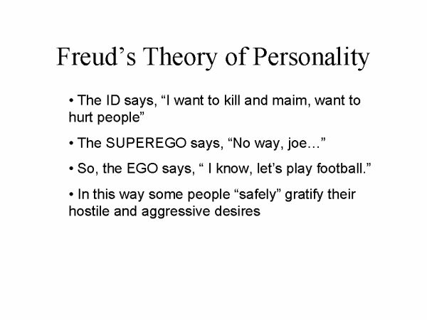 describe the stages of freud theory and explain characteristics of personality using theses componen Instead of proceeding from hypothetical comprehension centers, freud proposed a theory of infantile stages of speech-, reading-, and writing- learning, all of which required only the initial mimetic capacity to repeat, memorize, and associate.