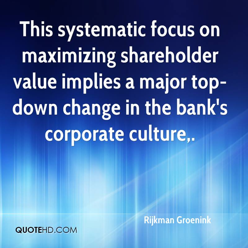 "shareholder value maximization A business theory helped put profits for shareholders ahead of other to ""maximize shareholder value with shareholder value maximization."