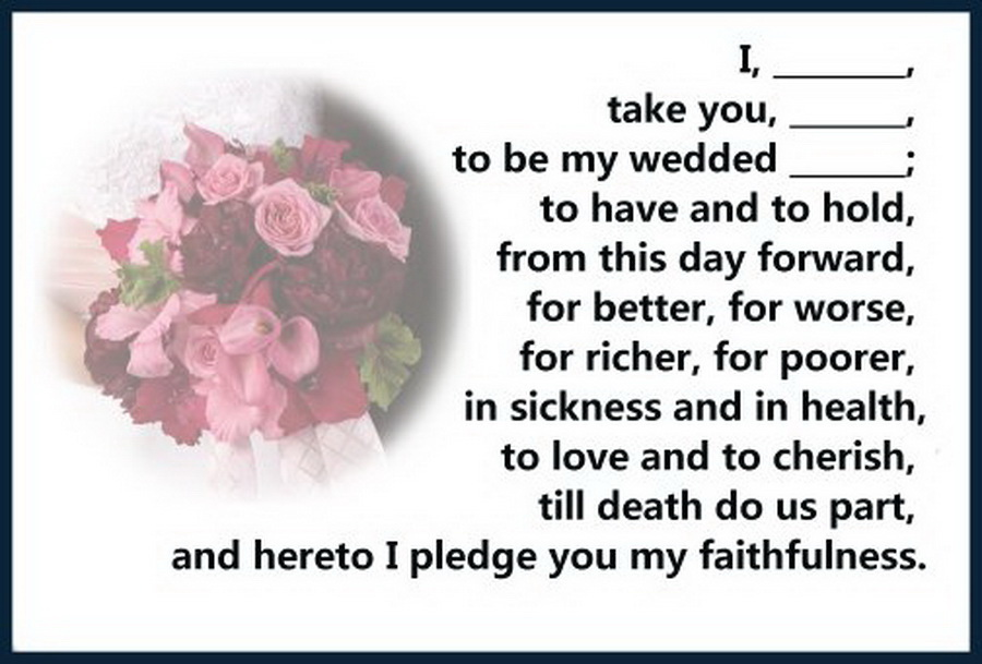 my marriage vows If you're writing your own vows, you probably feel pressured take a break from creating top-notch, pulitzer-prize vows and enjoy these funny wedding vows.