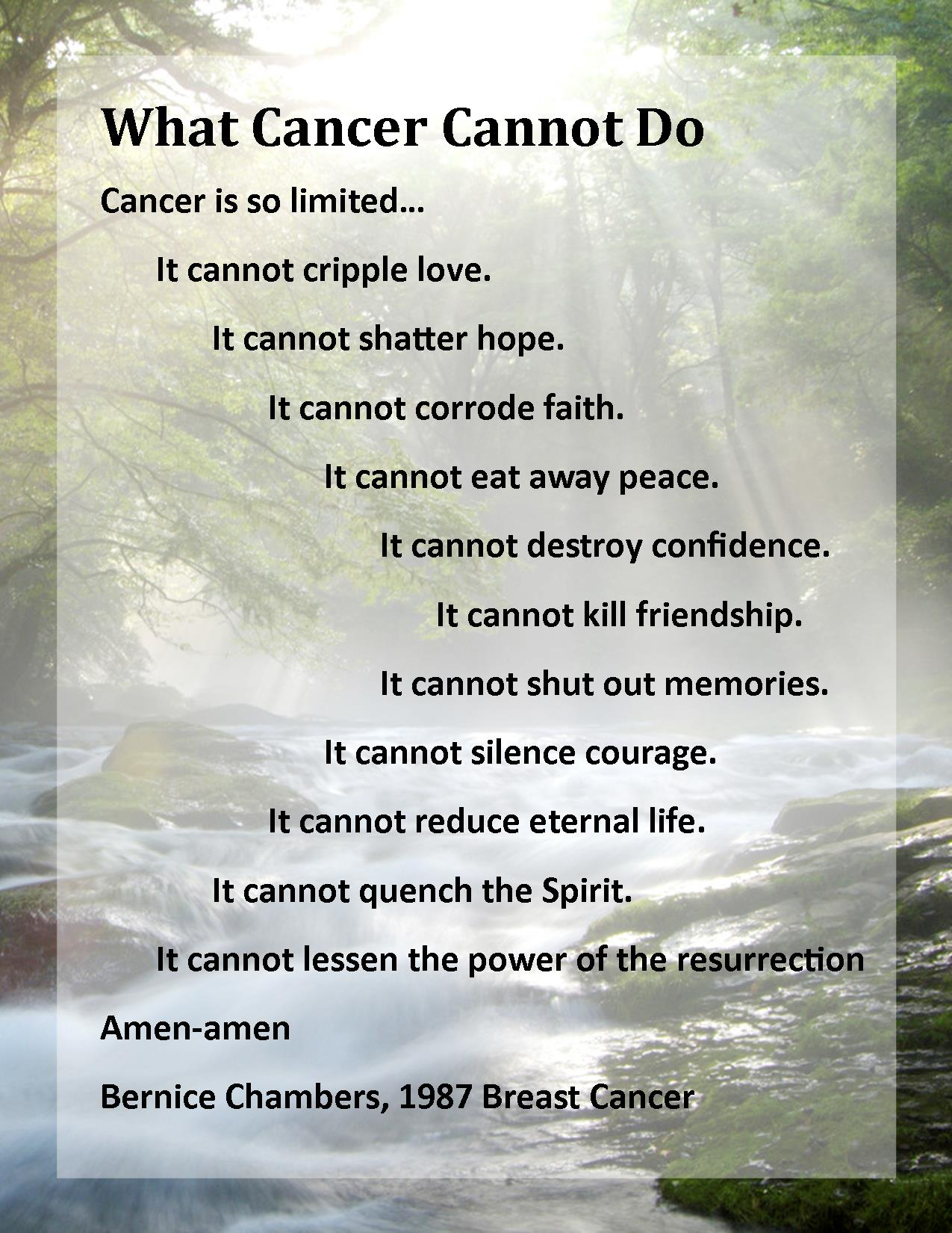 what cancer cannot do Help to lift spirits by making a quilt showcasing the quotes from the what cancer cannot do fabric panel cancer may cause pain and hardship, but this fabric panel reminds.