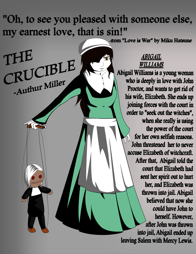 essays on the crucible about abigail williams Essay title: abigail williams abigail williams in the crucible the character i dislike the most is abigail williams because she is portrayed to have no morals, very deceitful, and is a liar.