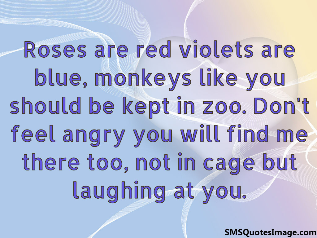 roses are red violets are blue monkeys like you should be kept in zoo dont feel angry you will find me there too not in cage but laughing at you