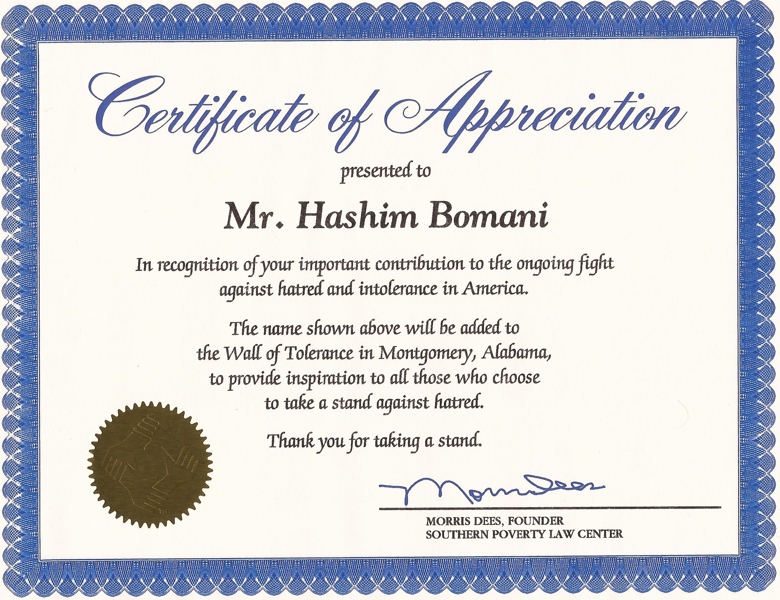 Certificate of appreciation wording volunteer for Certified professional building designer