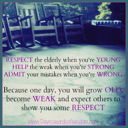 respect the elders essay Bible verses about respect: when i was a child i was taught to respect my parents, elders  and i'm supposed to write an essay on respect.