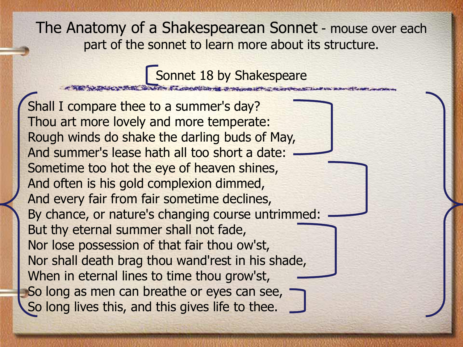 analysis of shakepeares sonnets Shakespeare - sonnet 116 analysis and interpretation sonnet 116 was written by william shakespeare and published in 1609 william shakespeare was an english writer and poet, and has written a lot of famous plays, amongst them macbeth and romeo and juliet.