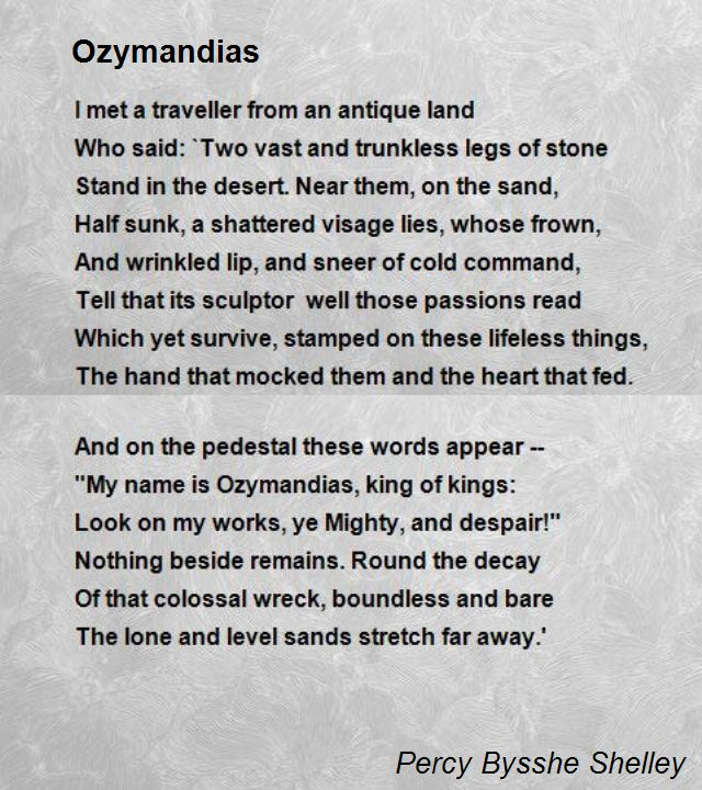 an introduction to the literary analysis of ozymandias