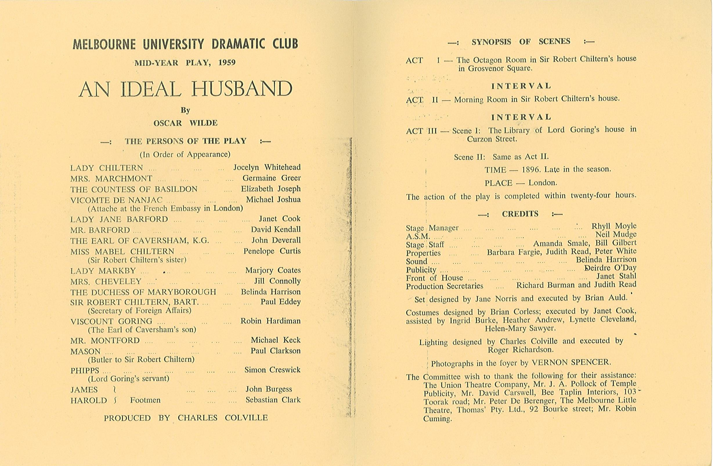 quotes about an ideal husband quotes melbourne university dramatic club mid year play 1959 an ideal husband by oscar wilde
