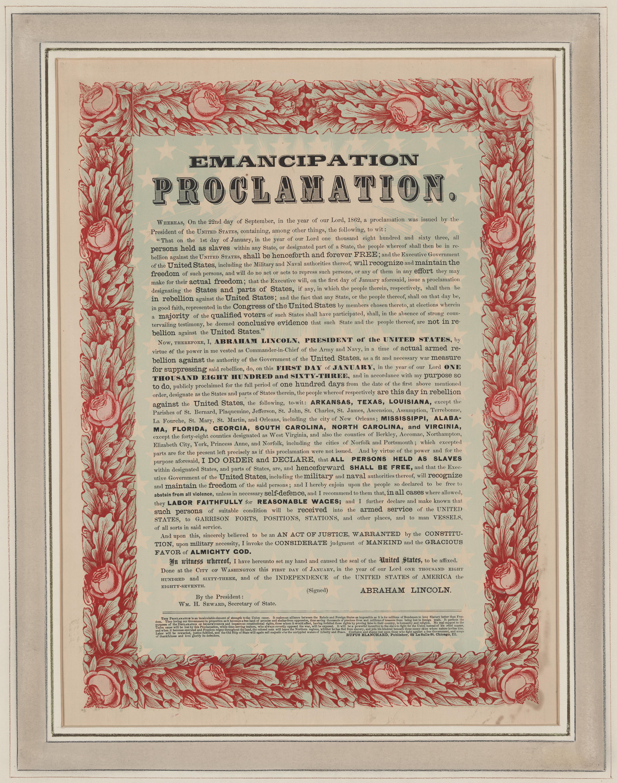 emancipation proclamation thesis Abraham lincoln, the emancipation proclamation, historic american documents, lit2go edition,  lit2go: historic american documents the emancipation proclamation.