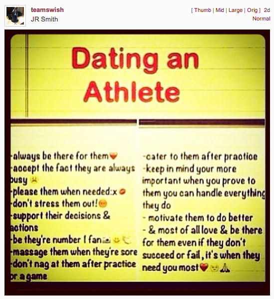 dating an athlete rules