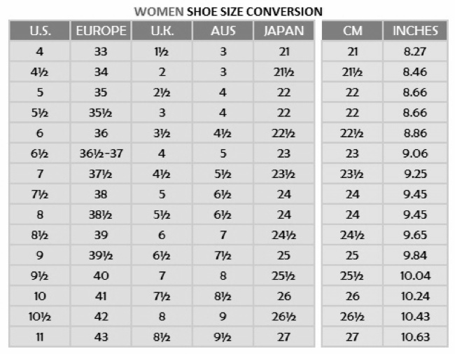 Women Shoe Size Conversion U S  K Europe H  42 U K 6k Aus  Japan 23h  26h Cm