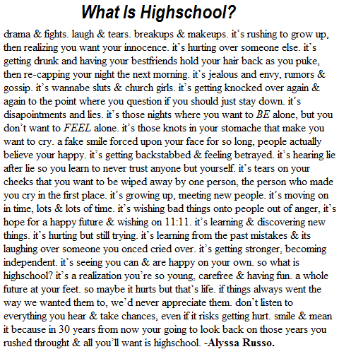 Last Year High School Essay \ U ...
