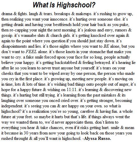 Last Year High School Essay \ U ...