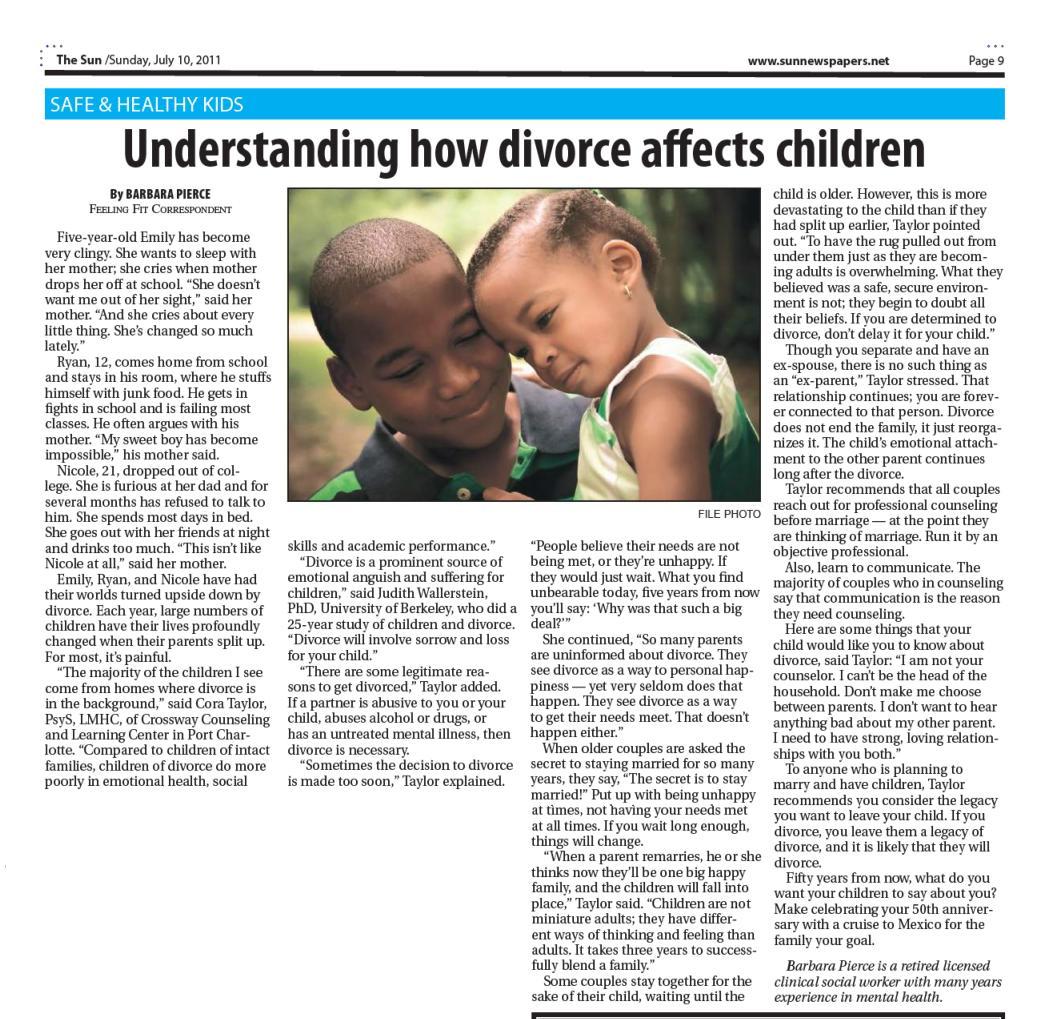 effects of broken marriage to children