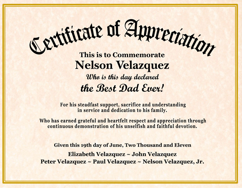 Sample appreciation certificates templates datariouruguay yadclub Gallery