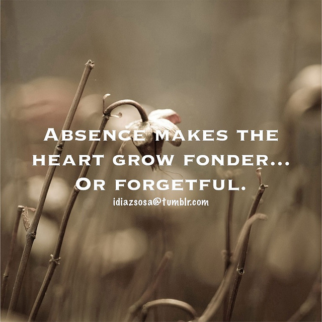 Who said absence makes the heart grow fonder