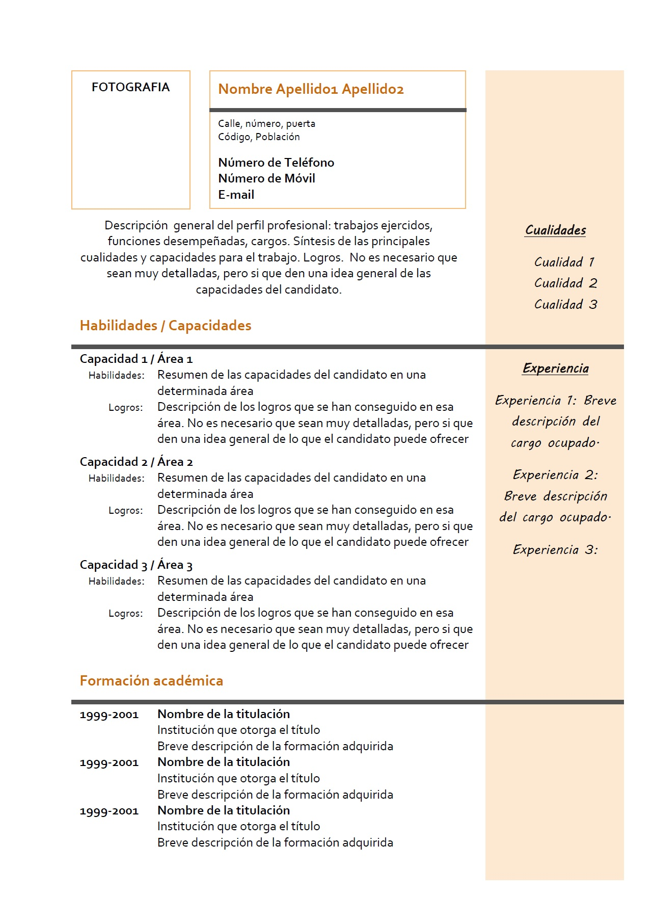 page resume header example – Resume Headings Format