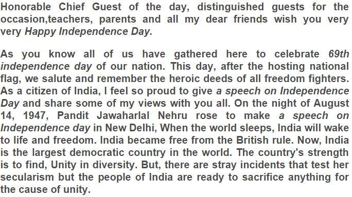 speech on independence day for 4th standard student The free worksheets are primarily about independence day in the united states but many other countries celebrate their independence independence day (4th.