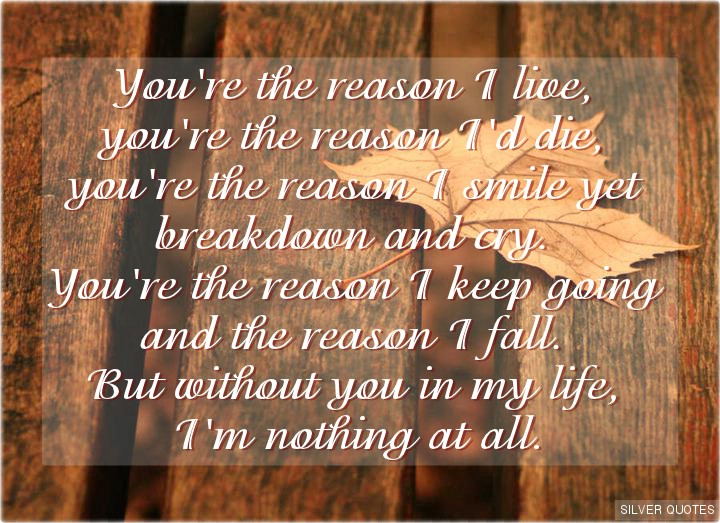 you are my reason to live