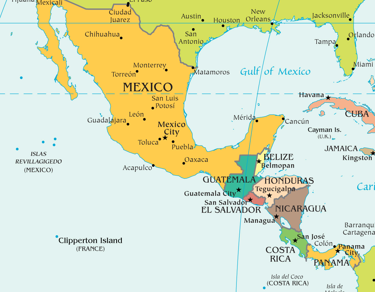 Show Me A Map Of Central America America Map