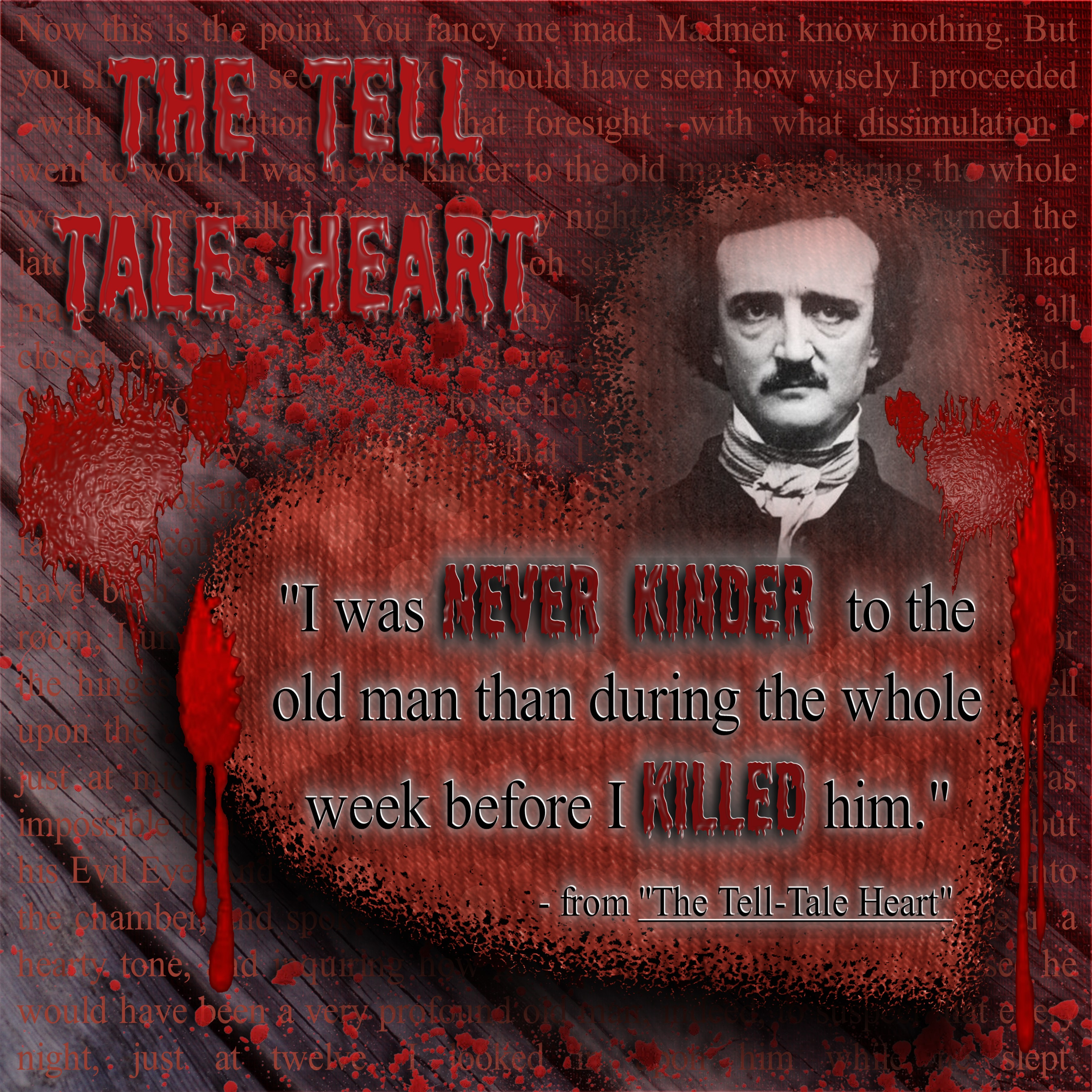 the use of imagery strong irony and similes in the tell tale heart a short story by edgar allan poe