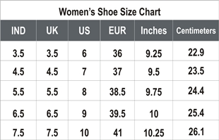 Shoe size chart india female uk