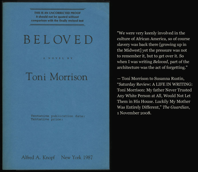 the beloved by toni morrison Toni morrison - biography  toni morrison was born chloe anthony wofford in lorain, ohio in 1931 she earned a bachelor's degree from howard university and a master's in english from cornell university.