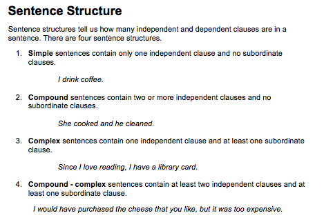 sentence structure essay