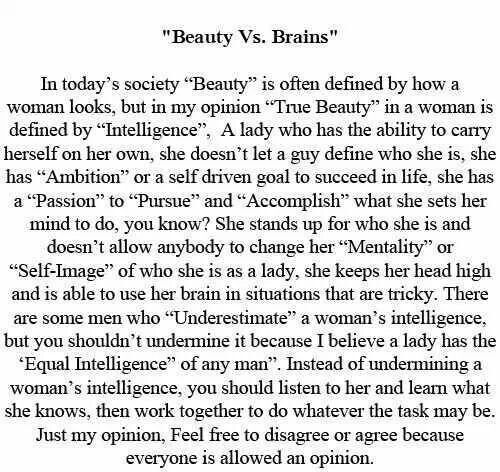 beauty is more important than brains essay