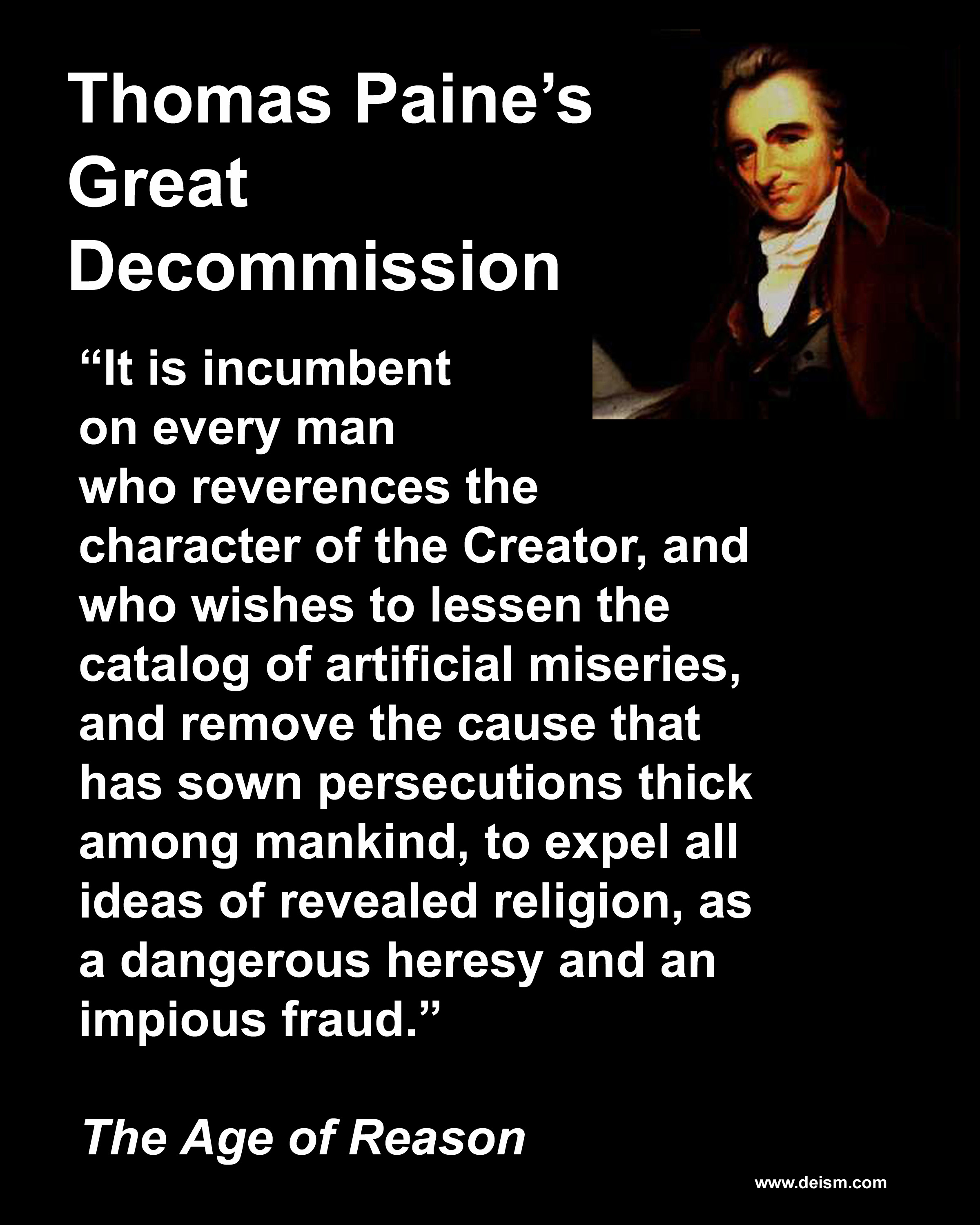 thomas paine deism essay Deism is defined as the belief in the existence of a god but thomas jefferson, james madison, thomas paine and george essays related to deism in america 1.