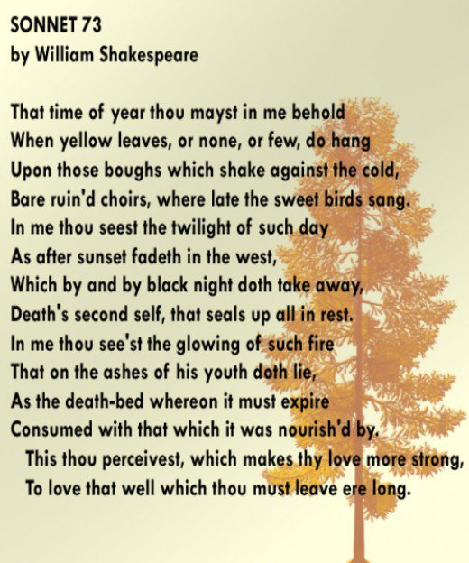 an analysis of the topic of william shakespeares sonnet that time of year thou mayst in me behold