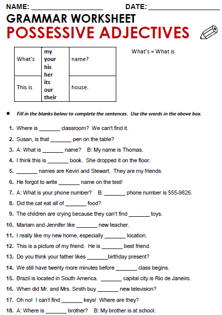 Possessive apostrophe worksheet middle school