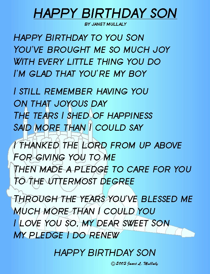 Wishesmessagessayings Helpful Non HAPPY BIRTHDAY SON JANET MULLALY TO YOU YOUVE BROUGHT ME SO