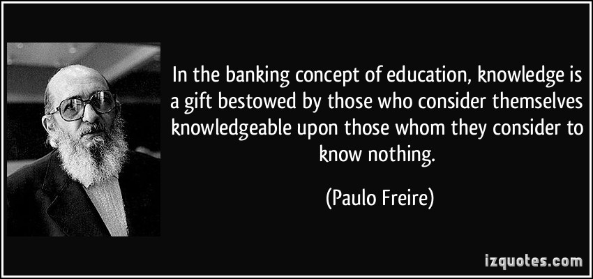 banking vs problem posing a need for Problem-posing education departs from banking education by resolving the teacher/student dichotomy whereas banking education is founded upon the inflexibility of these roles, problem-posing involves a collective critical inquiry in which the participants are teacher-students.