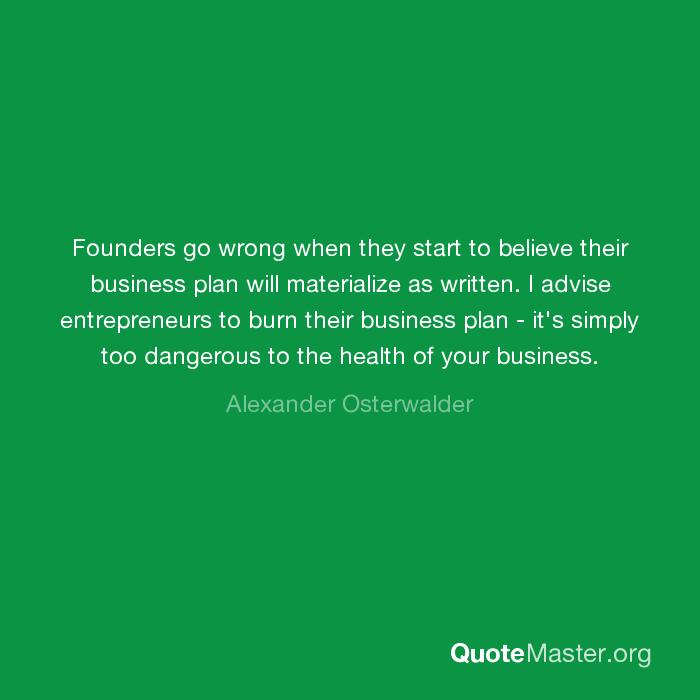 alexander osterwalder burn your business plan