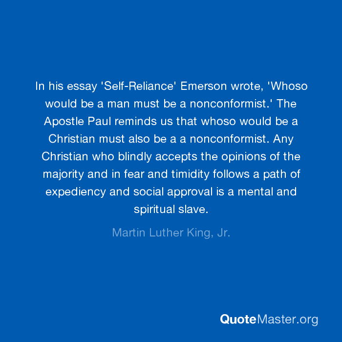 the demonstration of self reliance in emersons essay self reliance