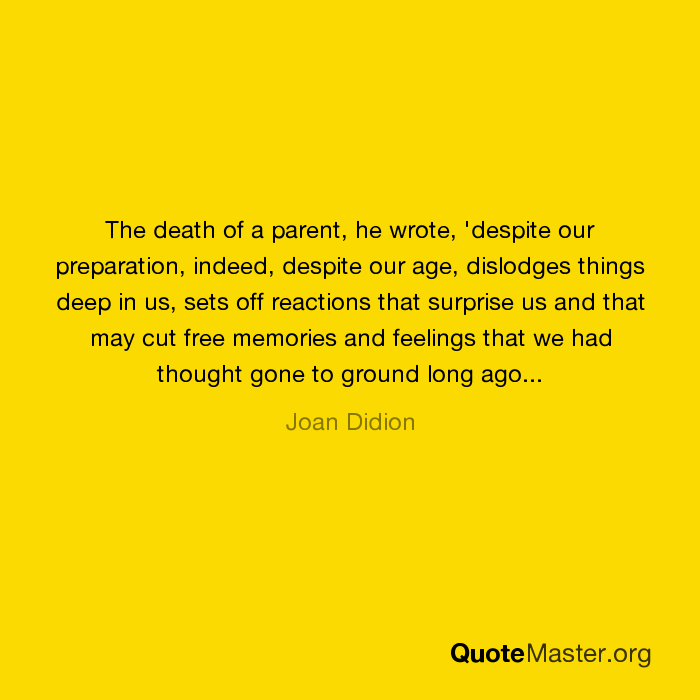 the death of a parent While the terms are often used interchangeably, bereavement refers to the state of loss, and grief is the reaction to that loss the death of a parent.