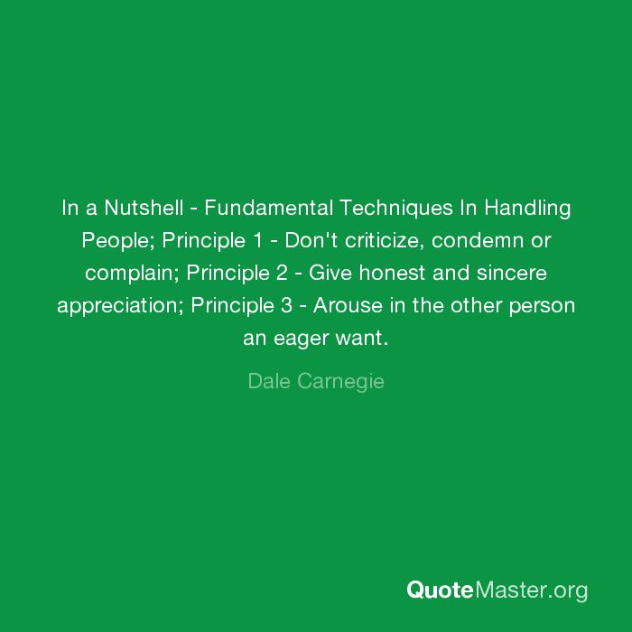 In A Nutshell Fundamental Techniques In Handling People Principle