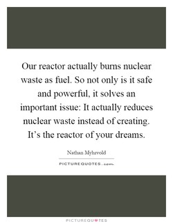 Our reactor actually burns nuclear 