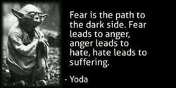 Fear is the path to the dark side. Fear leads to anger, anger leads to hate, hate leads to suffering. - Yoda