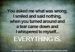 •You asked me what was wrong, 