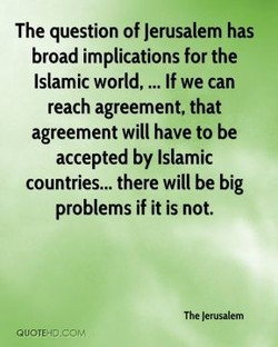 The question of Jerusalem has 